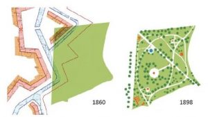Graphic representation of fortifications in relation to modern park. Image courtesy of Arkwood Ltd