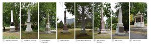 8 memorials in Victoria park. Images courtesy of Rory O'Connor HBR Ltd