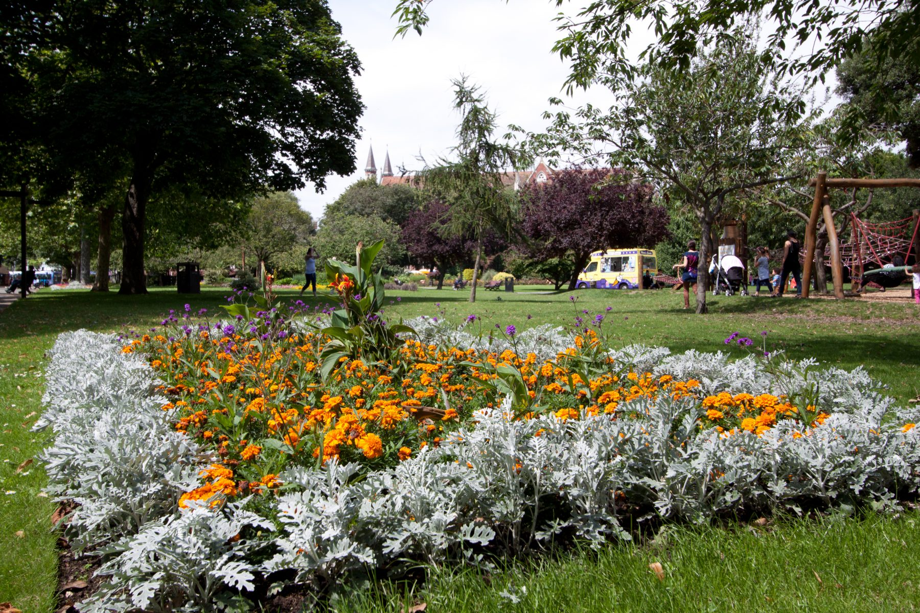 Silver and gold plants in flower bed at Victoria Park Portsmouth